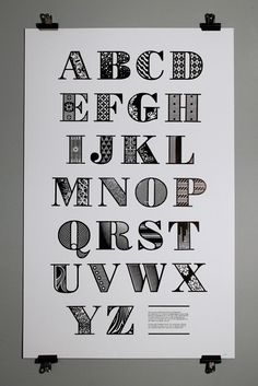 This decorative alphabet was produced by Nigel Bents, Paul Oakley and Jonny Holmes at Chelsea College of Art & Design. Based on a downloaded Bodoni Poster font, it was designed digitally by students using Illustrator, laser cut out of 3mm plywood by Cut Laser Cut in Vauxhall and mounted on type-high block by Stef Willis in the college workshop. Limited edition posters available for sale.