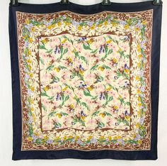 """LIBERTY OF LONDON Silk Scarf 27"""" X 26"""" Multi Color Floral Print Made In England #LibertyOfLondon #Scarf"""