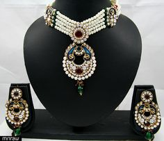 Latest traditional style necklace set with matching pair of earrings