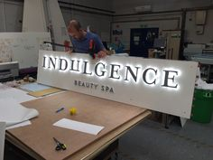 LED illuminated sign in the workshop