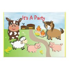 Cute Animal Farm Fun Kids Party Invitations  Such a cute animal farm theme, looks so fun on these party invitations for boys or girls and so easy to personalize with your details.