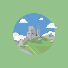 'Corfe Castle' by Jamie Harrington Framed Prints, Canvas Prints, Art Prints, Corfe Castle, Chiffon Tops, Duvet Covers, Iphone Cases, Throw Pillows, Poster