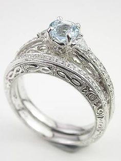 Antique Style Filigree Wedding Band set I love everything about this setup except_!_ I really want a traditional diamond