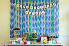 backdrop   like the streamer idea in abby cadabby colors,  hbd sign and string of photos
