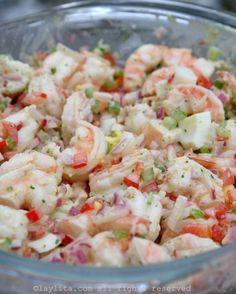 Shrimp salad with cilantro mayonnaise Shrimp salad with cilantro aioli Shrimp Salad Recipes, Seafood Salad, Shrimp Dishes, Avocado Recipes, Fish Recipes, Seafood Recipes, Cooking Recipes, Healthy Recipes, Crab Salad