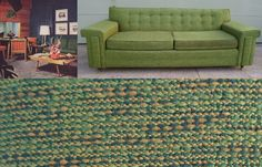 Vintage Mid Century Modern Sofa, Davenport, Couch, Green, Button Back, Mad Men