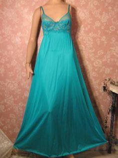 Olga vintage Nightgown Teal Lace