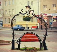 Romantic bench in Novosibirsk, Russia