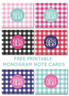 Free printable monogram gingham note cards #freeprintable #monogram
