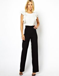 ASOS   ASOS Jumpsuit in Monochrome with Ruffle Back at ASOS