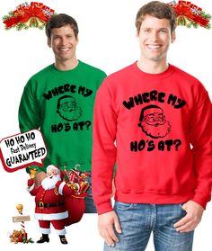 Where my Ho's at christmas ugly sweater, christmas party, ugly christmas sweater contest, Gift for him, xmas gift, Santa shirt, xmas party by DatBoutiqueNola on Etsy