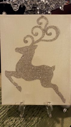 A glittery reindeer made by using my silhouette machine to cut out a vinyl template.