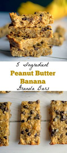 Peanut Butter Banana Granola Bars are a healthy and delicious snack made easy with only 5 REAL ingredients! Also gluten-free and vegan! # Healthy Snacks for pregnancy Peanut Butter Banana Granola Bars Vegan Granola Bars, Banana Granola, Peanut Butter Granola, Vegan Peanut Butter, Peanut Butter Banana, Banana Bars, Gluten Free Granola Bars Recipe, Granola Bites, Banana Nut