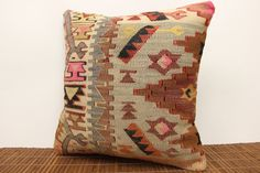 40 YRS OLD Kilim pillow cover 16 x 16 by kilimwarehouse on Etsy, $55.00