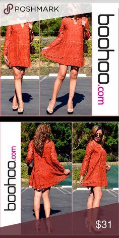 "💯🆕 Tara Tie Front Lace Swing Dress Exquisite lace dress :: 💯% polyester :: flat measurement of garment @ shoulder to hem 84cm/33"" :: machine washable Boohoo Dresses Mini"