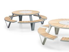 Large round picnic table and bench set to seat 8 people. Steel frame comes in powder coated white or galvanised steel. Suitable for outdoor use. Outdoor Furniture Design, City Furniture, Wooden Furniture, Table Furniture, Office Furniture, Round Picnic Table, Table And Bench Set, Canteen, Galvanized Steel