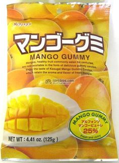 Japanese Fruit Gummy Candy from Kasugai - Mango - Japanese Candy, Japanese Food, Gourmet Recipes, Snack Recipes, Asian Snacks, Favorite Candy, Healthy Fruits, Packaging, Jelly Beans