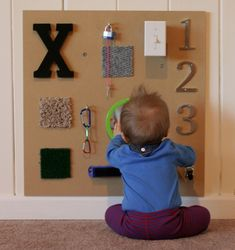 Great idea for a #DIY sensory board for infants & toddlers.  #sensoryboard #fabric-not sure I like the things on this board but I just like the idea of making a sensory board