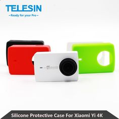 TELESIN Soft Silicone Protective Case Housing   Lens Cap Xiaomi Yi 4K Action Sport Camera 2 II Xiaomi Yi 2 Accessories