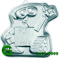 Wilton item number 2105-9999. Visit www.GalesWholesale.com for more information. Wall-E Aluminum Cake Pan. Meet the newest star from Disney/Pixar! It�s WALL-E, an industrial robot from the future who brings the excitement and fun of his hit movie to your celebration. This fun shaped pan is programmed to make a kid�s birthday unforgettable! One-mix pan is 10 x 11 x 2 in. deep. Aluminum. Birthday Ideas, Birthday Parties, Industrial Robots, Wilton Cake Decorating, Hits Movie, Wall E, Wilton Cakes, New Star, Cake Pans