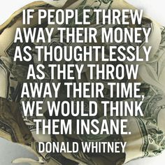 If people threw away their money as thoughtlessly as they throw away their time, we would think them insane. – Donald Whitney