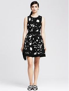 Banana Republic - Textured Floral Fit-and-Flare Dress $150.00. Christine has this dress and it's super cute.