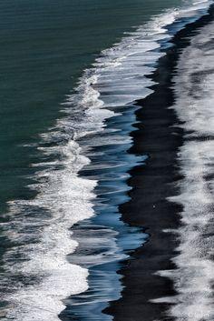 """Black Beach"", Detail of Iceland's coastline in Reynisdrangar beach near Vik.  ~by fegari  on 500px"