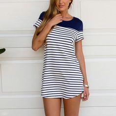 Women Summer Striped Long T-Shirts Lady Casual Short-sleeve Stiching Cotton t shirts Top