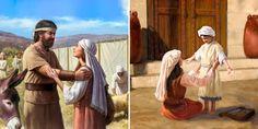 Jefté e sua filha no tabernáculo; Ana cumpre seu voto a Deus por levar seu filhinho, Samuel, para o tabernáculo