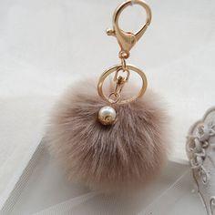 c963e8f7abab8 Gold Rabbit Fur Ball Keychain fur pom pom Keychain fur keyring porte clef  Pearl Key Chain Charm navidad regalos-in Key Chains from Jewelry &  Accessories on ...