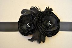 Black Wedding Sash with 2 flowers and feathers, Black Bridal Sash, black Wedding Belt, flower sash, glass beads, rhinestones on Etsy, $38.50