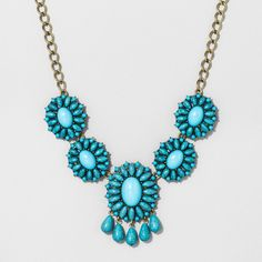 BaubleBar, Sugarfix by  Floral Statement Necklace with Fringe Detail - Turquoise, Women's