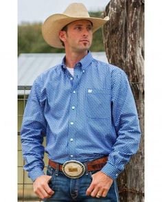 Cinch Men's Royal Blue Geo Print Button Down Long Sleeve Shirt