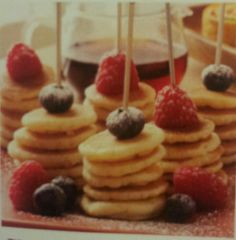 Finger food pancakes. Yummy except I don't like raspberries I'd wanna put some others on it