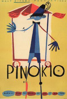 "Author : Kazimierz Mann Poster ""PINOKIO"", 1962 Recent gallery price : 750 dollars ""Pinocchio"", US (Disney), 1940 Animated feature directed by Hamilton Luske & Ben Sharpsteen Polish Movie Posters, Polish Films, Movie Poster Art, Music Posters, Print Poster, Art Print, Pinocchio, Pop Art, Animation"