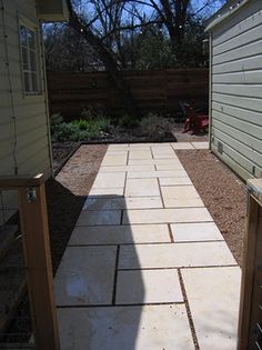 Limestone Pavers. Like the pattern.