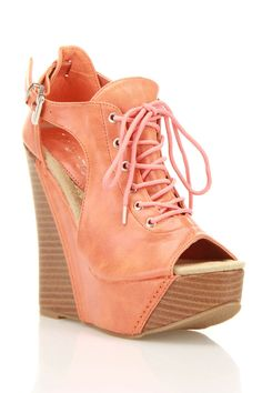 "Adorable!! 6"" wedges though not sure I could balance in them! lol! But sooo cute! Love the coral color!"