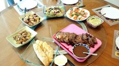 Roasted beef, baked potatoes, tomatoes and mozzarella, tossed salad, fresh bread.