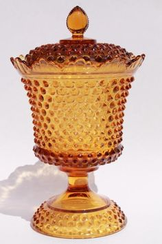 vintage Fenton hobnail amber glass canister, large apothecary jar w/ lid