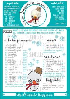 patron amigurumi bertorulez muñeco de nieve Diy Crochet, Crochet Toys, Snowman, Free Pattern, Diy And Crafts, Crochet Patterns, Christmas Decorations, Embroidery, Crochet Christmas