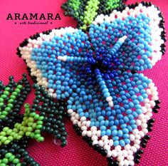 Mexican Huichol Beaded Blue Flower Necklace by Aramara Seed Bead Jewelry, Seed Beads, Beaded Jewelry, Unique Jewelry, Beaded Flowers, Blue Flowers, Mexican Pattern, Native American Jewellery, Mexican Jewelry