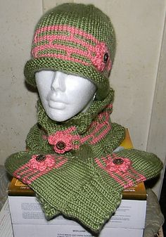 Ravelry: Girly Bowler Hat, Mittens and Cowl pattern by Sharon Houpt