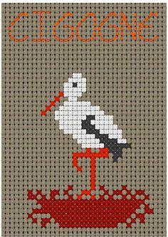 free cross stitch egret