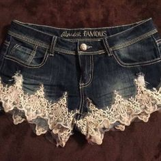 Shop Women& Almost Famous size 7 Jeans at a discounted price at Poshmark. Description: Denim shorts complemented with Lace and Pearls on the leg area- almost famous size 7 like new condition. Sold by Fast delivery, full service customer support. Refaçonner Jean, Jean Diy, Cute Shorts, Denim Shorts, 7 Jeans, Lace Jean Shorts, Diy Fashion, Fashion Outfits, Cool Outfits