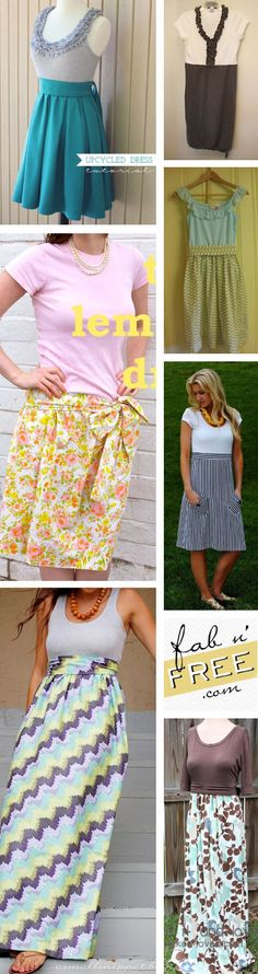 10 Free Womans T-Shirt Up-cycled to Dress Patterns & Tutorials!  EASY, EASY EASY!