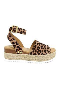 903de2ef8c82 Espadrille Low Platform Flats Sandals with Ankle Strap-Leopard Cheetah Print