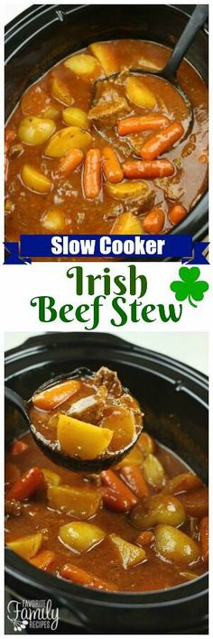 Slow Cooker Irish Beef Stew is the ultimate comfort food. Big chunks of tender beef with potatoes and carrots in a thick, hearty gravy. SO good! via @favfamilyrecipz