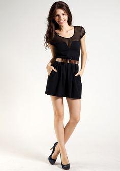 Mesh Skater Dress - Black