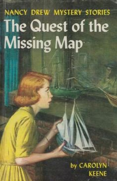 """""""The Quest of the Missing Map"""" Nancy Drew Mystery Recycled hardcover book JOURNAL! One of a kind, unrepeatable, and all yours/ your gift recipient's. All of our journals include some excerpts from the original book, whatever library ephemera is native to the book, and around 80-90 sheets of acid free, blank paper. Just $14. Click on this image to visit our site. Or click on this link: www.bookjournals.com Love, Jacob Ex Libris Anonymous, Portland, Oregon."""