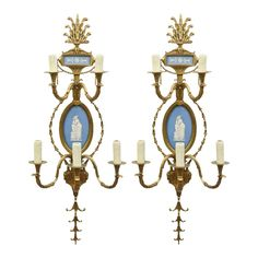 Pair of Cast Brass Wedgewood Sconces